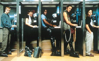 Pay phones, spandex, and rollerblades. Let's all just forget about the 90's, shall we?