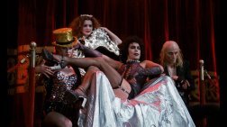 Tim Curry as Dr. Frank N. Furter, Richard O'Brien as Riff Raff, Patricia Quinn as Magenta, and Nell Campbell as Columbia!