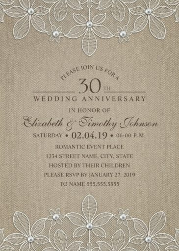 Rustic Burlap 30th Wedding Anniversary Invitations Lace And Pearls Cards