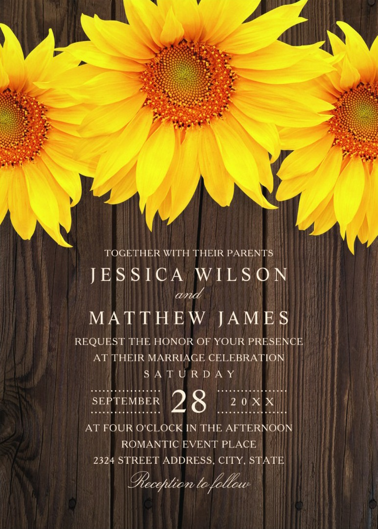 Best Vintage Rustic Sunflower Wedding Invitations Creative