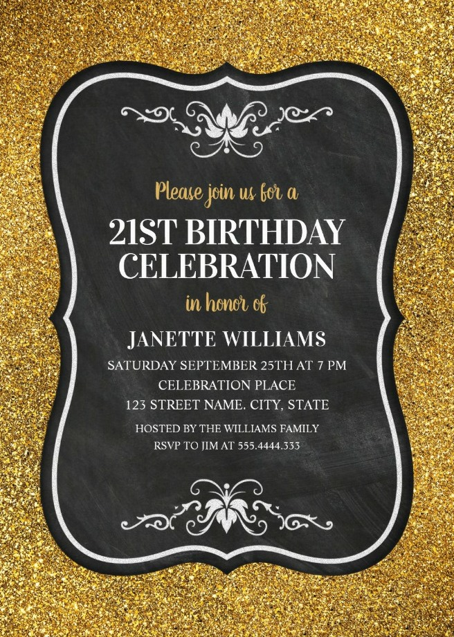 classic 21st birthday invitations
