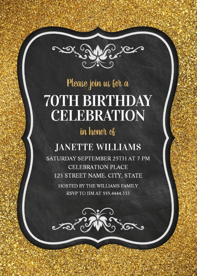 glitter adult 70th birthday party