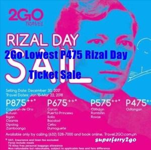 2Go Lowest P475 Rizal Day Promo Ticket Sale