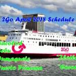 2Go April 2018 Boat Schedule for Visayas and Palawan