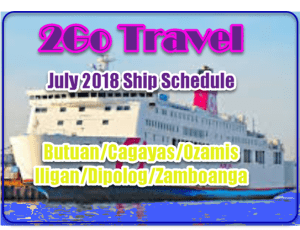2Go July 2018 Mindanao Routes and Schedule