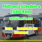 Philtranco Schedule and Fare: Davao, Cagayan de Oro, Mangagoy