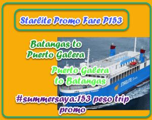 Starlite Promo Fare: P153 Batangas to/from Puerto Galera