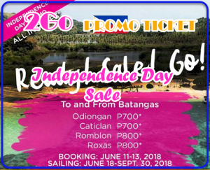 2Go Promo Ticket Independence Day Sale: Batangas Routes