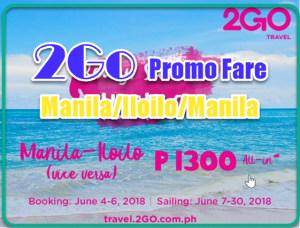 2Go Promo Ticket: Manila to Iloilo and Vice Versa