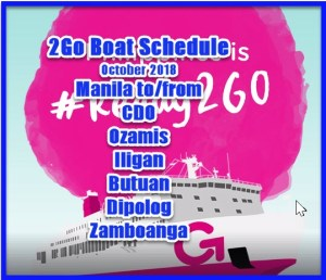 2Go Boat Schedule October 2018: Manila to Mindanao Routes