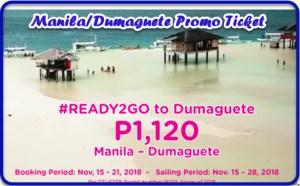 Manila to Dumaguete & Vice Versa 2Go Promo Ticket Sale