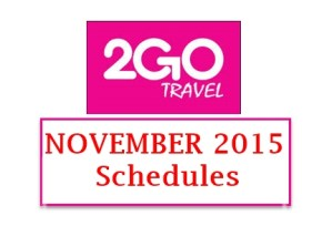 November 2015 2Go Superferry Schedules for Manila to Ozamis and Vice Versa