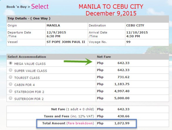 Superferry Manila to Cebu Ticket Price 2015