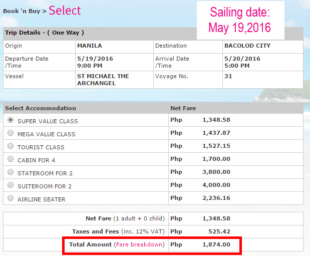 2Go Promo Fare May 2016 Manila to Bacolod