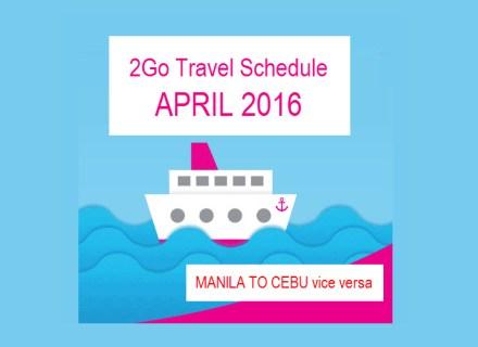 2Go Schedule and Fare April 2016 Manila to Cebu
