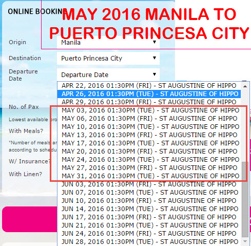 2Go Travel Schedule Manila to Puerto Princesa City MAY 2016