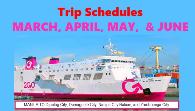 2Go Travel Superferry March April May June 2016 Trip Schedules