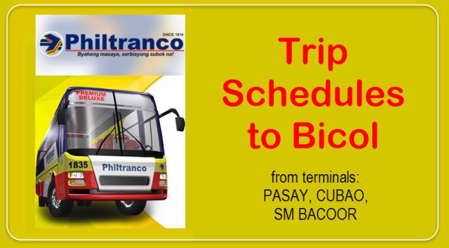 Philtranco Trip Schedules to Bicol