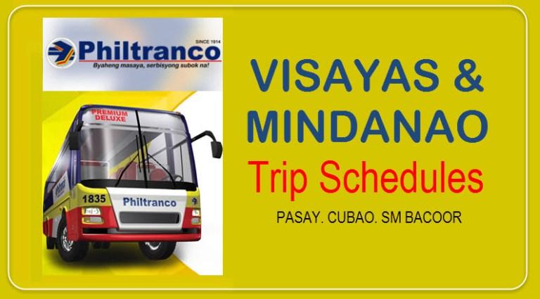 Philtranco Trip Schedules to Visayas and Mindanao
