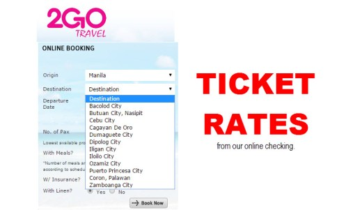 2Go Ticket Rates Manila to Bacolod, Zamboanga, CDO, Ozamiz, Nasipit, Dumaguete, Palawan
