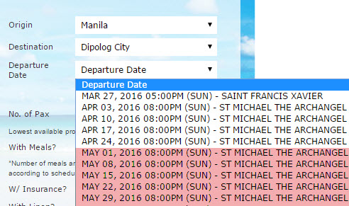 May 2016 2Go Schedule Manila to Dipolog