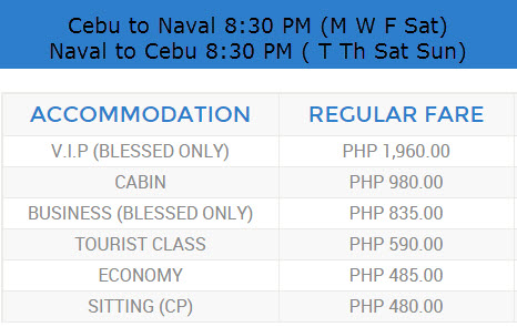 Roble Shipping Ticket Price Cebu to Naval