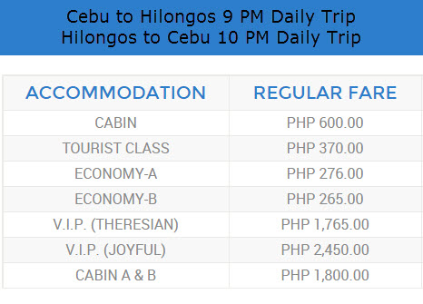 Roble Shipping rate for Cebu Hilongos