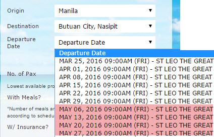 Superferry May 2016 Schedule Manila to Butuan Nasipit