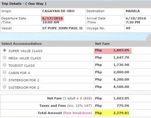 2Go Fare Cagayan de Oro to Manila