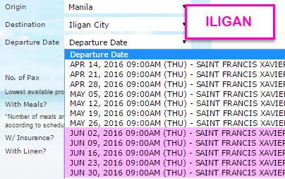 2Go Manila to Iligan June 2016 Schedule