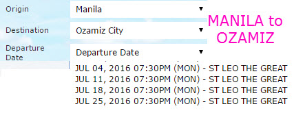 2Go Schedule JULY 2016 Manila to Ozamiz