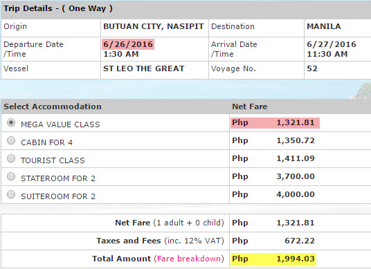 2Go nasipit Butuan to Manila Ticket Price