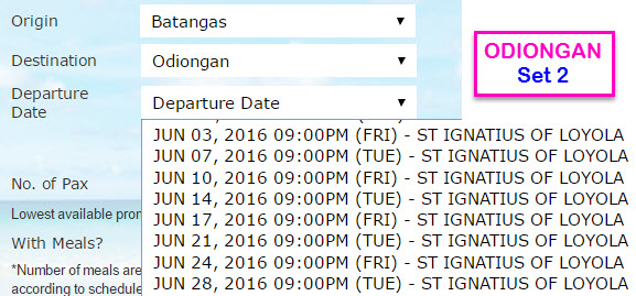 Batangas to Odiongan Schedule