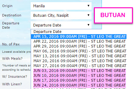 MANILA to BUTUAN NASIPIT Schedule 2Go June 2016