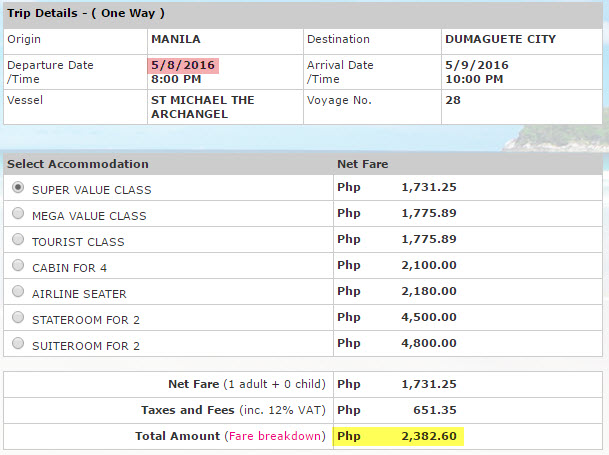 Superferry ticket price Manila to Dumaguete