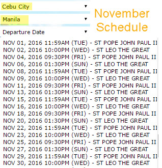 Cebu to Manila 2Go Schedule November