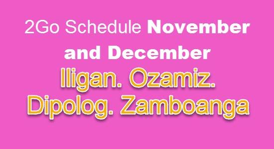 2Go Iligan Ozamiz Dipolog Zamboanga Schedule