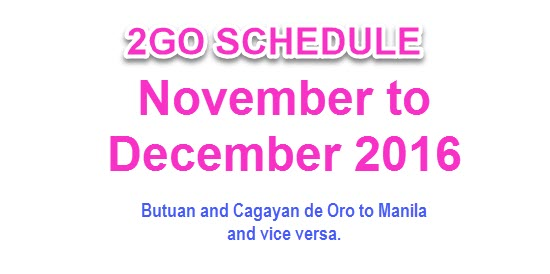 2Go Schedule November to December