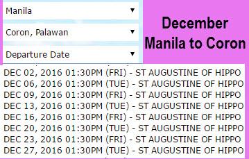 2Go DEcember Schedule Manila to Coron