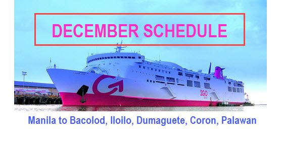 2Go December Schedule Bacolod Iloilo Dumaguete Coron Puerto Princesa
