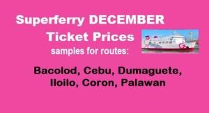 Superferry December Ticket Rates Visayas