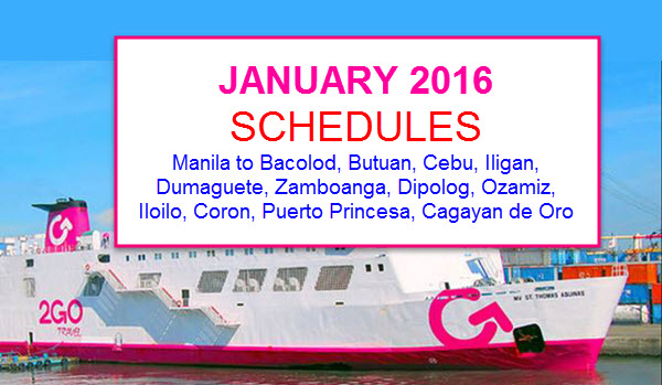 2go january 2017 schedules