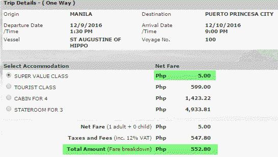 2Go Travel Promos December to Palawan