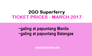 2017 2Go Fares and Ticket Prices – MARCH