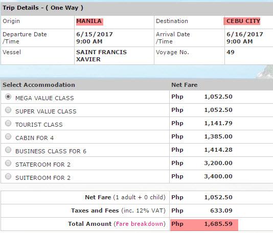 2Go Manila to Cebu Price