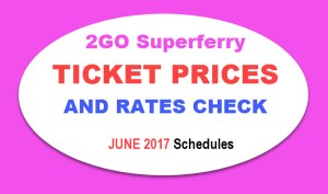 2GO Travel Ticket Price List 2017 for June Schedules