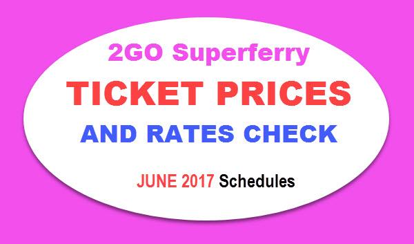 2Go Ticket Price List 2017 - June