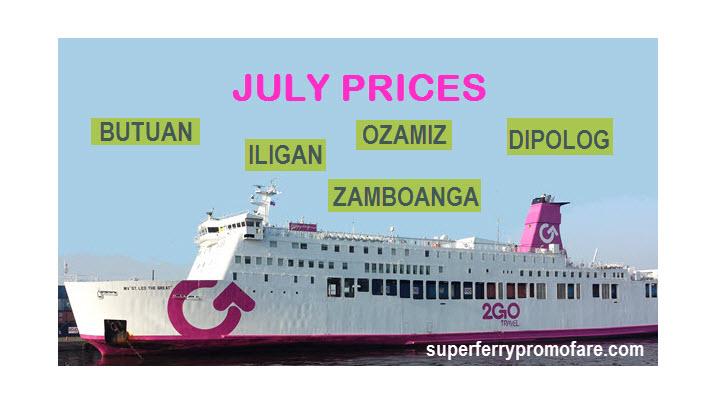 2Go Ticket price list july