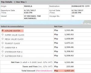 2Go rates Manila to Dumaguete