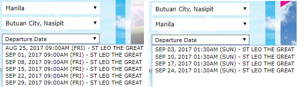 Manila to Butuan and vice versa schedule